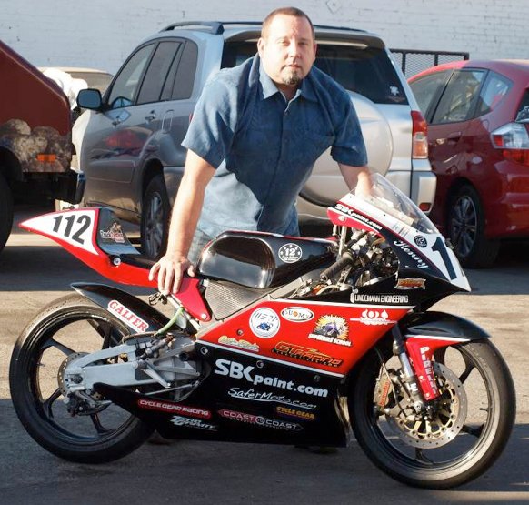 Eric Andersen, Kenny's father, brought his son's RS125 racer to the event. The stickers attest to the many companies that added their support to a racer they were certain was destined for greatness. Photo: Paul Garson