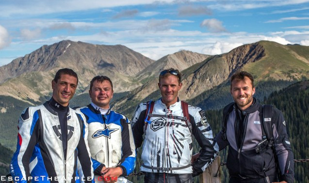 A rare shot of the entire team from a fellow rider atop Independence Pass on Route 82.