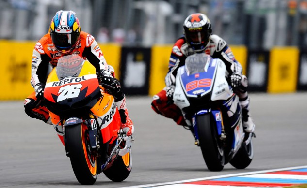Dani Pedrosa vs. Jorge Lorenzo was the story last season but this year, both riders find themselves chasing after rookie phenom Marc Marquez.