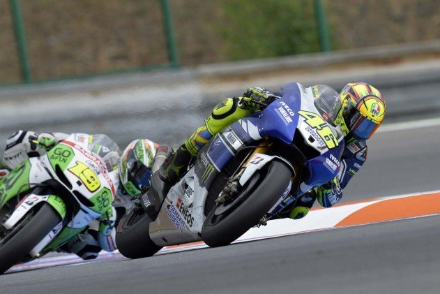 Valentino Rossi and Alvaro Bautista battled each other for fourth place.