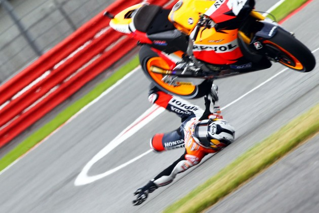 Dani Pedrosa narrowly avoided serious injury in a hard crash during qualifying for the 2010 British Grand Prix.