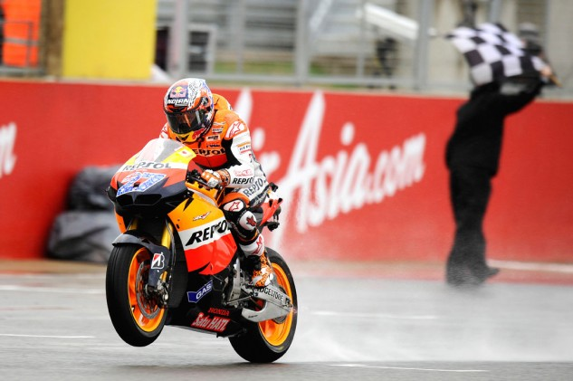 Casey Stoner (remember him?) won a wet one last year. Marc Marquez's current heroics have made it easy for Honda fans to get over Stoner's retirement.