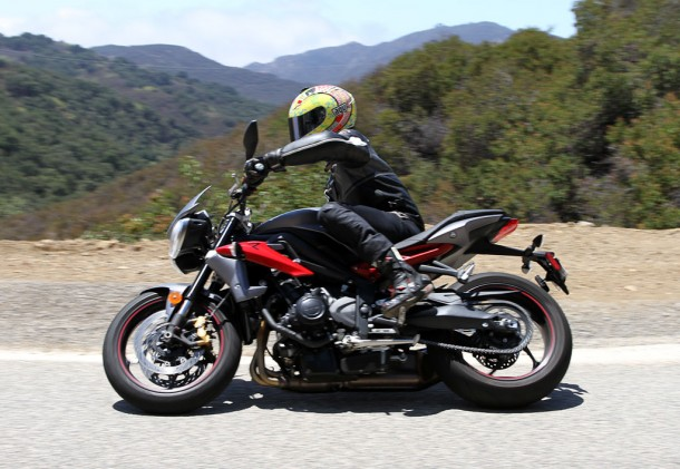The Street Triple's Flawless gearbox delivers quick and sure shifts.