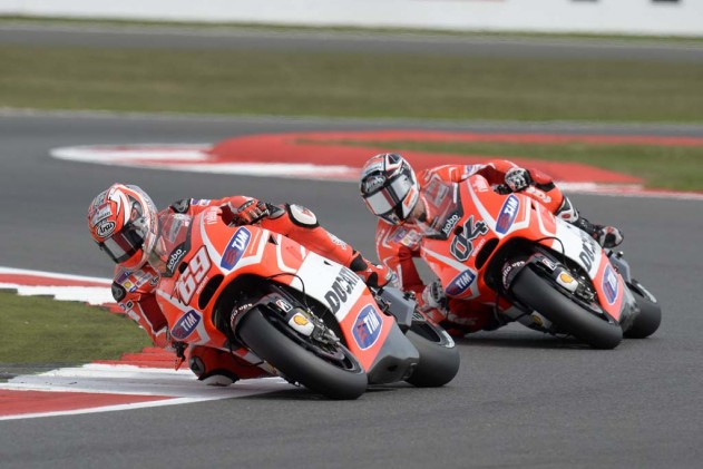 Meanwhile, in the Ducati vs. Ducati matchup, Nicky Hayden finished eighth while Andrea Dovizioso crashed out with two laps to go.