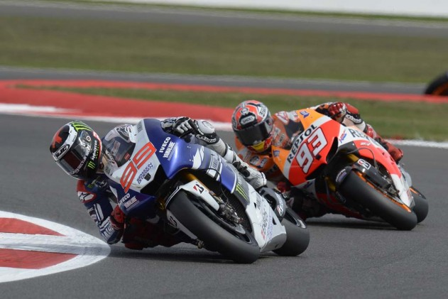 Jorge Lorenzo hadn't been getting the best of Marc Marquez very often this year, but with the rookie dislocating his shoulder in warm-up, the defending champion took advantage.