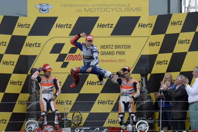 Jorge Lorenzo finally got to do his traditional victory leap for the first time since June 16 at Catalunya.