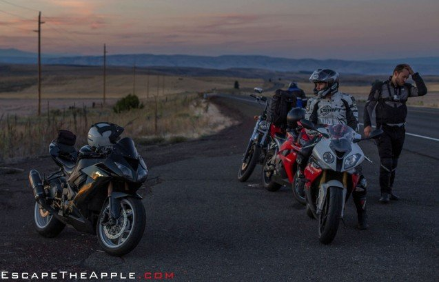 The team contemplates the return route on the way back into Portland as dusk approaches from a beautiful ride out to Mount Hood.