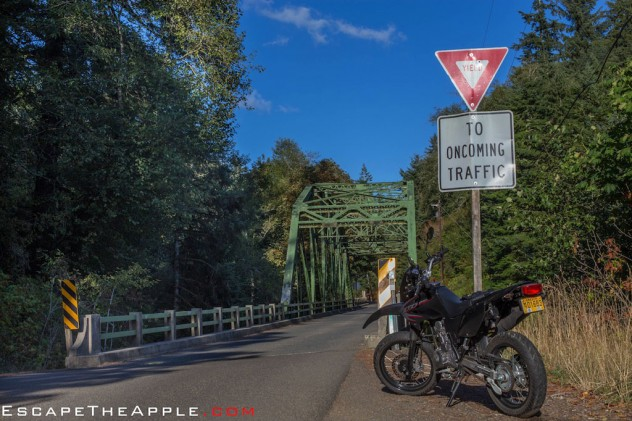 Awaiting parts following a fluke spill in downtown Portland, Eric cruises a loaner CRF230 on the incredible back road twisties of northwest Oregon.