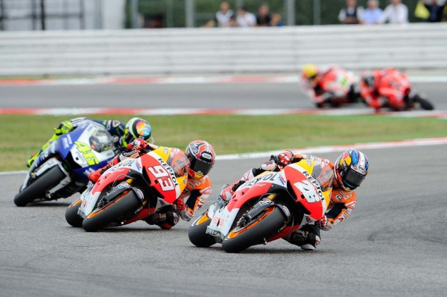 Honda's Dani Pedrosa and Marc Marquez and Yamaha's Valentino Rossi were also-rans as Jorge Lorenzo was dominating at Misano.