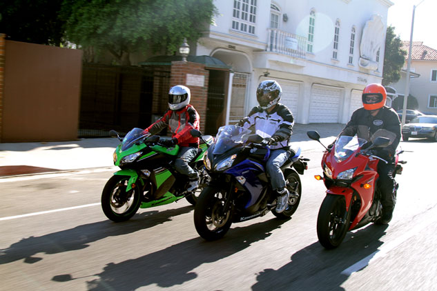 The Kawasaki Ninja 300 (left), Ninja 650 (center) and Honda CBR500R represent three different entry points for new or returning riders. Each has certain strengths that suit different riders.