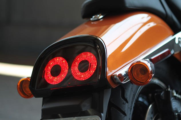 The new slash-cut rear fender is sexy – but what really sets it off are the dual-ring LED taillights.