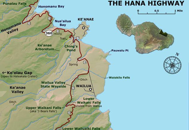 Hana Highway Map