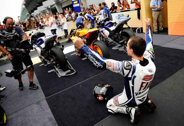 A third place finish at Sepang in 2010 was enough for Jorge Lorenzo to clinch the championship.