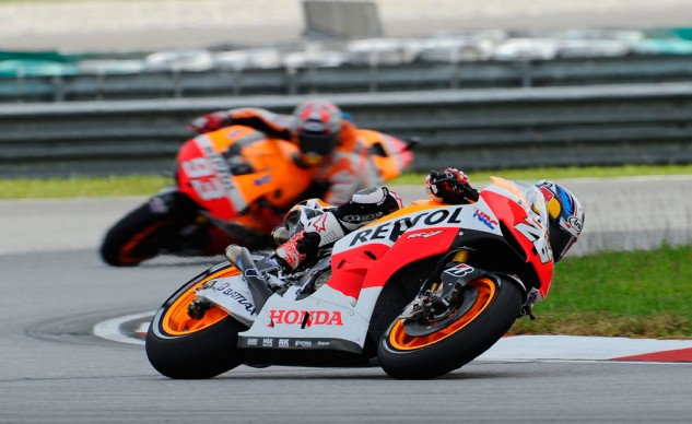 Rather than making an unnecessary charge on teammate Dani Pedrosa, Marc Marquez stayed back and rode a safe second at Sepang.