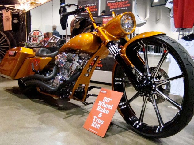 Bagger builder Paul Yaffe offers a 30-inch front wheel kit.