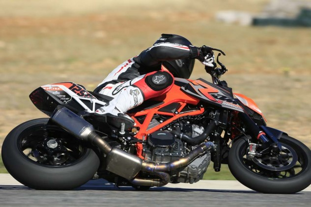 WP racing suspension and adjustable footpegs greatly increase cornering clearance. The race-prepped Super Duke R boomed with a full Akrapovic system that claims a 12 hp increase over the stock exhaust. These and many more go-fast additions are available via KTM's Equipment catalog.