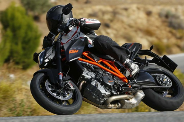Oh the places you'll go! Accessorized with some soft luggage from KTM's Powerparts selection and the Super Duke R morphs into high-performance mileage-gobbler. Yeah, it's seriously that comfortable.