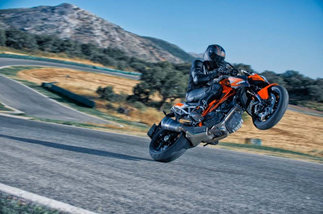 We missed the wheelie photography session, so here's a gratuitous wheelie shot from KTM's stock photo collection.