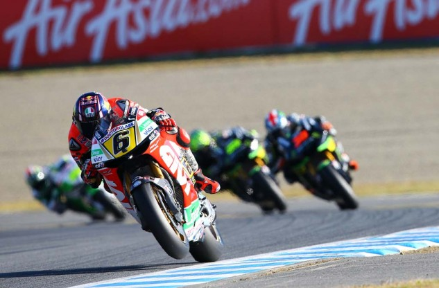 Stefan Bradl had an impressive race, finishing fifth despite his injuries.