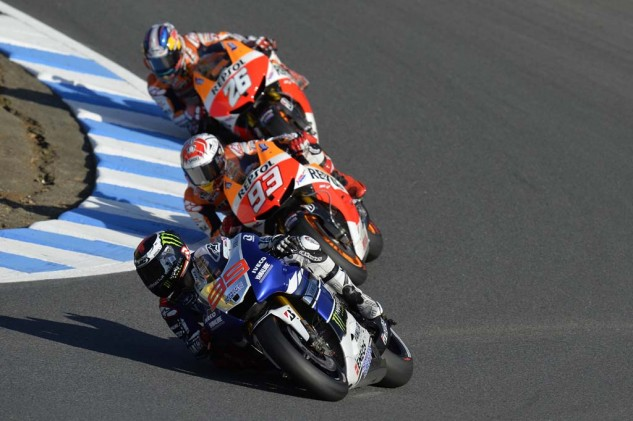 As he has most of the season, Jorge Lorenzo once again found himself besieged by the two Repsol Honda pilots Marc Marquez and Dani Pedrosa.