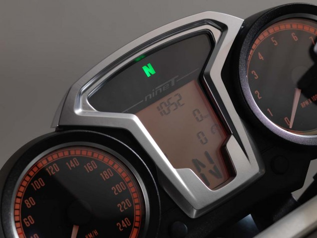 The dual analog gauges give the important information at a glance. The LCD panel relays information from the onboard computer.