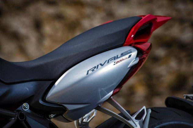 The MV Agusta Rivale 800's slender saddle should allow for two-up riding. At least, that's the theory.
