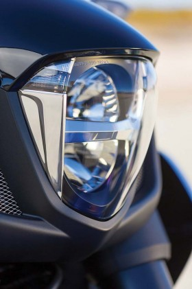 The LED headlight is both futuristic and effective at casting illumination.
