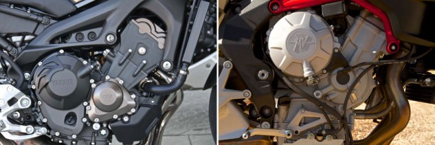 "One's an $8k value bike, the other a $12.5k boutique Italian marque. Which engine is better packaged? When you tout your product as ""Motorcycle Art,"" the MV's small imperfections such as these haphazard breather tubes and ill-routed clutch cable are inexcusable."