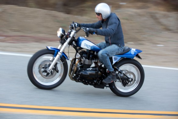 2013 Triumph Bonneville Performance Street Tracker Action Left