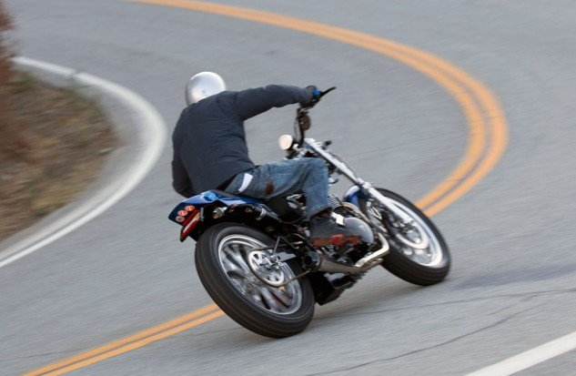 2013 Triumph Bonneville Performance Street Tracker Action Cornering