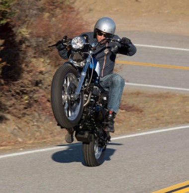 2013 Triumph Bonneville Performance Street Tracker Wheelie