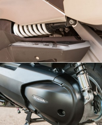 All of the shocks offered ramped preload adjustment – be they visible as on the BMW (left) or under a pretty chrome cover as on the Honda (right).