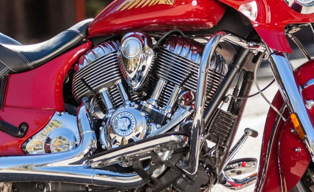Look at photos of vintage Indian cylinders and heads, and you'll see the history reflected in the shapes on this chrome-covered engine.