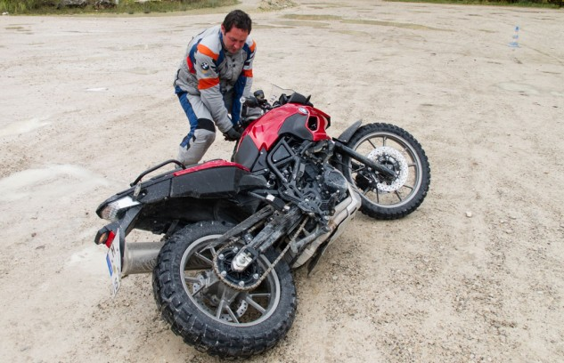 Picking up a dropped motorcycle