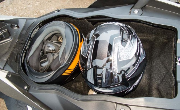 While able to hold two helmets, the BMW seemingly had room for the kitchen sink, too.