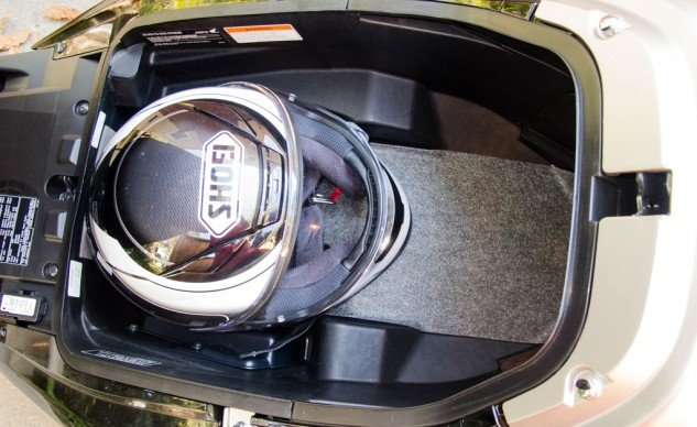 Even though it ranked second in capacity, the Honda's underseat storage could not hold two helmets. It does, however, have a light.