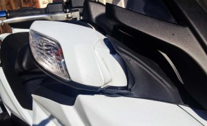 Aside from offering the best rear view of all the scooters, the Burgman's mirror pods can also retract with the push of a button.