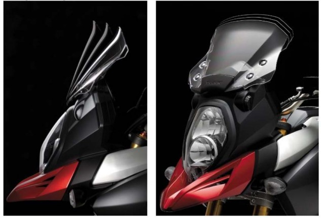 The new windscreen is three-position adjustable by simply pressing forward to change its lateral movement, while its vertical positioning requires unbolting the screen from its mount. There's also an optional touring windscreen that's 40mm higher and 20mm wider.
