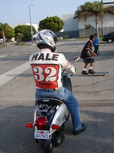 Mike Hale on a scooter