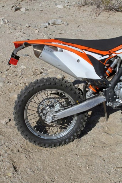KTM practically rewrote the book on off-road rear suspension with its Progressive Damping System (PDS), and the 500 EXC uses the linkage-less system to mount its fully adjustable WP shock. The KTM's performance is nothing short of excellent, with 13.2 inches of travel, a plush feel and superior control in fast and/or rough terrain.
