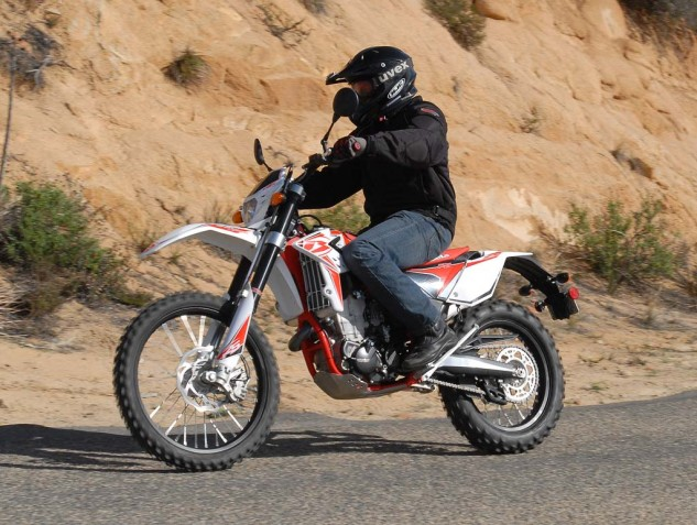 The Beta's long, low chassis feel gives it a pleasant ride on the road. Slower steering, combined with excellent front-end feedback, inspire confidence despite the skinny 90/90-21-inch front tire. Its strong front brake is also superior to the KTM's on the pavement.