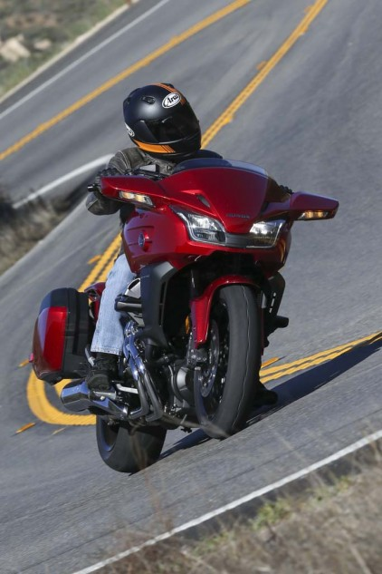 There's enough cornering clearance to keep the pace exciting in the twisties. Braking performance is excellent. The CTX features Honda's Combined Braking System (CBS) linking the rear brake to the center piston in the three-piston right-front brake caliper. A delay valve slows initial front brake response to minimize front-end dive.