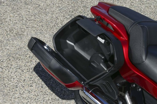 The lockable, 35-liter saddlebags are nicely styled and easily accessible but not large enough to hold a full-face helmet (and there's no helmet lock). While there's no quick-release mechanism, the bags are removable via two internal bolts.