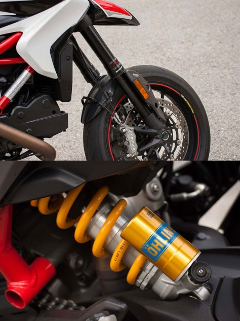 Credit the Marzocchi fork and Ohlins shock for the tall seat height. Also credit them for providing excellent road-holding abilities.