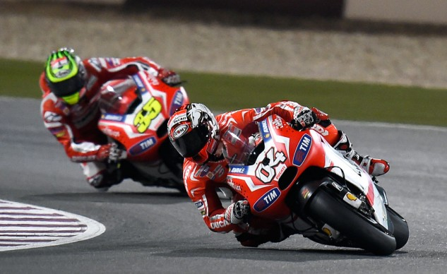 On paper, the new rules should give Ducati an advantage. And while the two factory Ducatis finished higher than they did last year, Jorge Lorenzo's first-lap crash was the bigger factor.