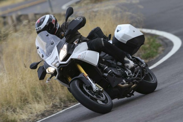 With Aprilia's Dynamic Damping you can actually feel the suspension firming under braking then readjusting mid-corner. However, the downside is decreased feel for what the tire is doing underneath you.