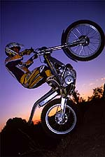 Bultaco Sherco sunset wheelie