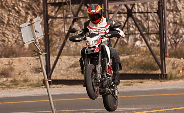 The Hypermotard's 821cc V-Twin is smooth, predictable, capable, and fun. It's also about 20 hp more and 10 ft-lbs of torque less than the old air-cooled 1100 Twin.