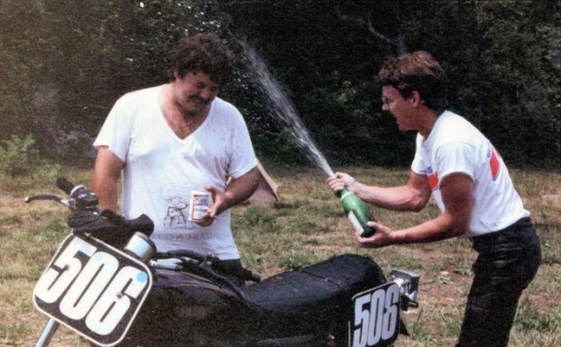 Celebrating Big Kurt's not crashing in Rider's School aboard the long-suffering SR500.