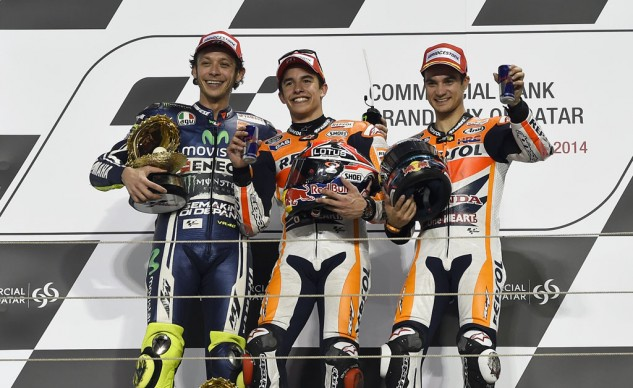A resurgent Valentino Rossi joined the podium at Losail with Dani Pedrosa and race-winner Marc Marquez.